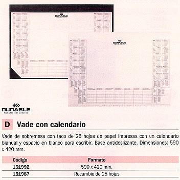 DURABLE VADES SOBREMESA 590X420 NEGRO ANTIDESLIZANTE CON CALENDARIO Y 25 HOJAS 7291-01