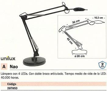 UNILUX LÁMPARA LED NAO 4 LEDS NEGRO DOBLE BRAZO ARTICULADO 40000 HORAS 100340400