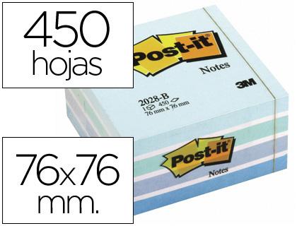 POST-IT CUBO NOTAS ADHESIVAS 450H AZUL PASTEL 76X76MM FT510093212
