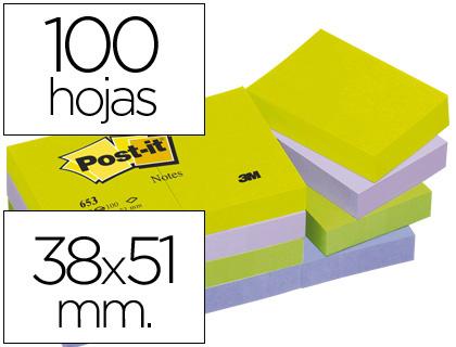 POST-IT NOTAS ADHESIVAS GAMA FANTASIA PACK 12 BLOCS 100H COLORES SURTIDOS 38X51MM FT510283508