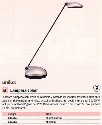 UNILUX LÁMPARA HALÓGENA JOKER 35/50W NEGRO BRAZO Y PANTALLA INCLINABLES 100340174