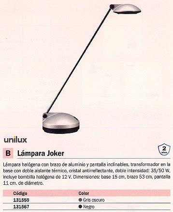 Complementos escritorio UNILUX LÁMPARA HALÓGENA JOKER 35/50W NEGRO BRAZO Y PANTALLA INCLINABLES 100340174
