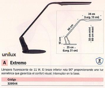 UNILUX LÁMPARA FLUORESCENTE EXTREMO 11W NEGRO EL BRAZO INFERIOR ROTA 90º 100340420