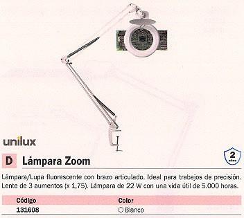 UNILUX LÁMPARA-LUPA FLUORESCENTE ZOOM 22W BLANCO BRAZO ARTICULADO 5000 HORAS 100340267
