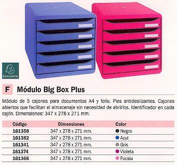 EXACOMPTA MÓDULO BIG BOX PLUS 5 CAJONES A4/FOLIO 347X278X271MM NEGRO ABIERTOS 309714D
