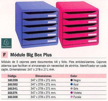 EXACOMPTA MÓDULO BIG BOX PLUS 5 CAJONES A4 347X278X271MM AZUL ABIERTOS 309779D