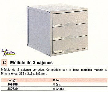 ARCHIVO 2000 MÓDULO 3 CAJONES CERRADOS 356X316X303 MM GRAFITO CERRADOS 8403CGF