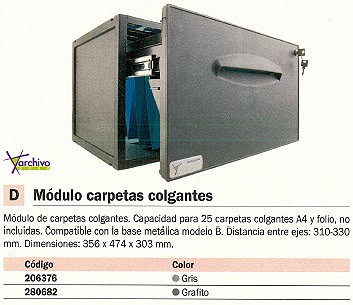 ARCHIVO 2000 MODULO CARPETA COLGANTE PARA A4 Y FOLIO 474X356X303 GRAFITO PARA 25 CARPETAS 8301CGF