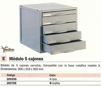 ARCHIVO 2000 MÓDULO MOD.5 5 CAJONES 356X316X303 GRIS CERRADOS 8405CGF