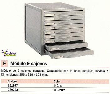 ARCHIVO 2000 MODULOS CAJONES 9 CAJONES 356X316X303MM GRIS 8409CGS