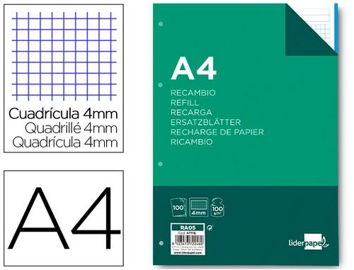 Recambios encolados - Libretas encoladas RECAMBIO LIDERPAPEL A4 100 HOJAS 100G/M2 CUADRO 4MM CON MARGEN 4 TALADROS