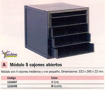 ARCHIVO 2000 MÓDULO DE 5 CAJONES ABIERTOS 356 X 316 X 303 GRAFITO 8405BGF
