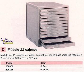 ARCHIVO 2000 MÓDULO 11 CAJONES 356X316X362 MM GRIS 8211CGS