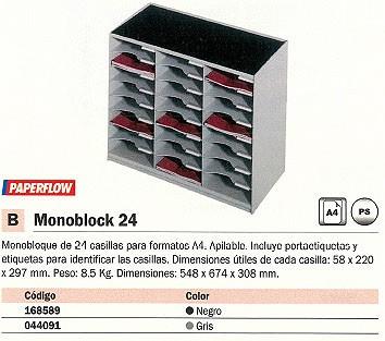 PAPERFLOW MODULOS MONOBLOCK 24 24 CASILLAS 548X674X308MM A4 NEGRO 802.01