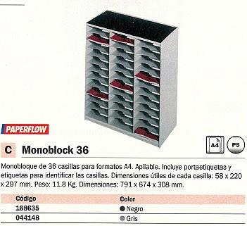 PAPERFLOW MONOBLOCK 36 CASILLAS 791X674X308 MM NEGRO 803.02