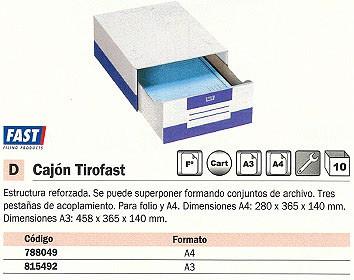 FAST CAJÓN ARCHIVO MODULAR TIROFAST 280X365X140 A4 3 PESTAÑAS DE ACOPLAMIENTO CARTÓN 4950X10