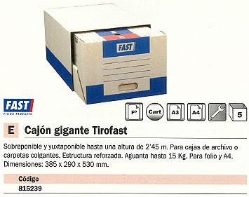 ENVASE DE 5 UNIDADES MÓDULO CAJON GIGANTE TIROFAST ARCHIVO CARPETAS COLGANTES 385X290X530MM A4/Fº GRIS CLARO 4952X1