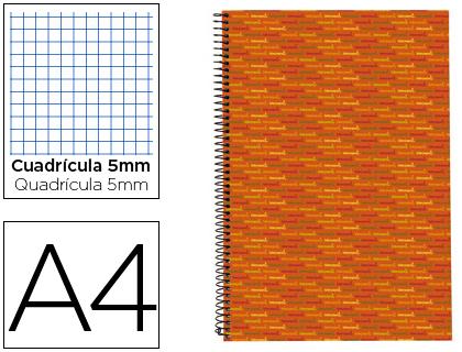 Blocs de espiral BLOC ESPIRAL LIDERPAPEL A4 MICRO MULTILIDER TAPA FORRADA 140H 70G CUADRO 5MM 5 BANDAS 4 TALADROS. NARANJA