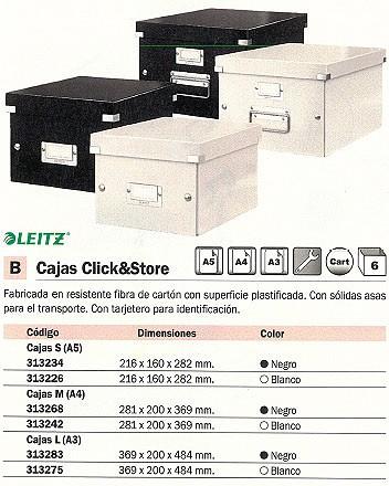 LEITZ CAJA ALMACENAMIENTO CLICK&STORE 281X200X369 MM NEGRO FIBRA DE CARTÓN 60440095