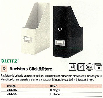 LEITZ REVISTERO CLICK&STORE A4/ FOLIO 103X330X253 MM BLANCO 60470001