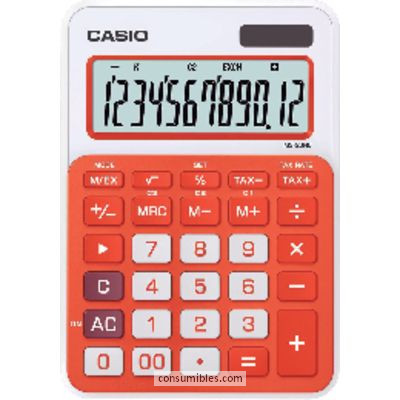 Calculadoras de sobremesa CASIO CALCULADORA SOBREMESA MS-20NC 12 DIGITOS CALCULO TASAS NARANJA PANTALLA EXTRAGRANDE MS-20NC NJ