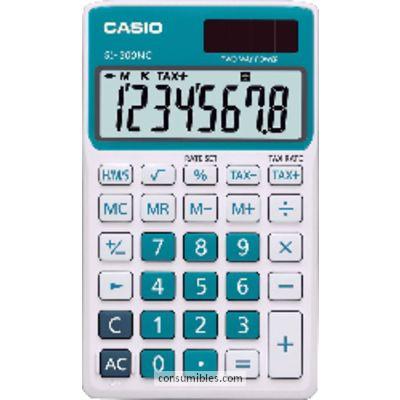 Calculadoras de bolsillo CASIO CALCULADORA DE BOLSILLO SL-300 NC 8 DIGITOS AZUL SOLAR /PILAS SL-300NC AZ
