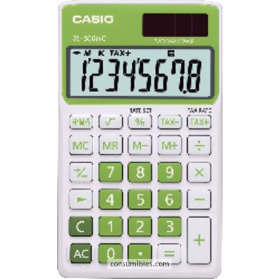 Calculadoras de bolsillo CASIO CALCULADORA DE BOLSILLO SL-300 NC 8 DIGITOS VERDE SOLAR Y PILA SL-300NC VR