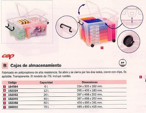 CEP CAJA ALMACENAMIENTO 397X498X329 MM CIERRE CON CLIPS APILABLE 2006740110