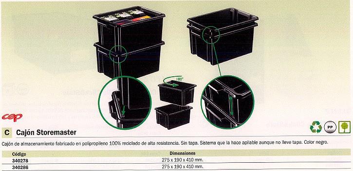 CEP CAJA ALMACENAMIENTO STOREMASTER 350X241X524 MM 32L SIN TAPA ALTA RESISTENCIA 2000460160