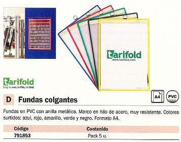 TARIFOLD FUNDA COLGANTE A4 MARCO HILO ACERO COLORES SURTIDOS 154509