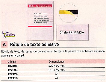 ARCHIVO 2000 ROTULO TEXTO ADHESIVO 122X60 MM POLIESTIRENO 6154PCSTP