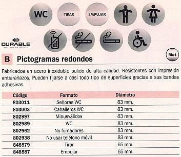 DURABLE PICTOGRAMA NO FUMADORES 83 MM ACERO INOX 4911-23