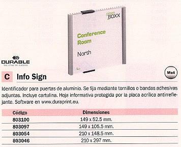 DURABLE ROTULO INFORMACION INFO SIGN 149X105,5MM PARA PUERTAS ALUMINIO METALICO 4801-23
