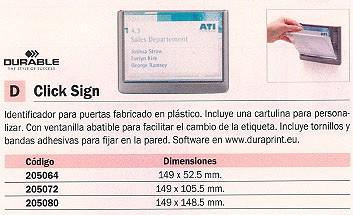DURABLE IDENTIFICADORES CLICK SIGN PARA PUERTAS 149X105,5 MM PLÁSTICO 4861-37