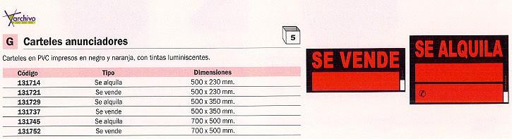 ENVASE DE 5 UNIDADES UNIPAPEL CARTEL ANUNCIADOR SE ALQUILA 50X35CM PVC 6166NE
