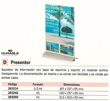 DURABLE EXPOSITOR SOBREMESA PRESENTER 1/3 A4 107X237X85 MM 8587-19