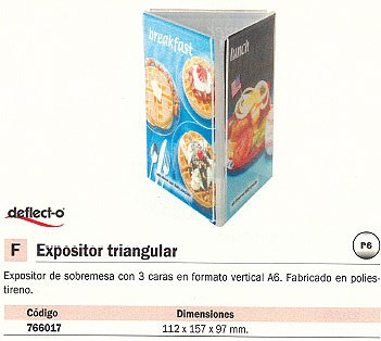 DEFLECTO EXPOSITOR SOBREMESA 111X110X97 TRIANGULAR 3 CARAS 60101