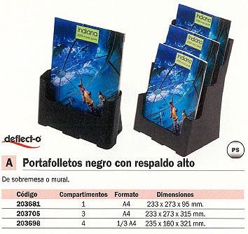 DEFLECTO EXPOSITOR SOBREMESA A4 235X160X321 NEGRO 77304