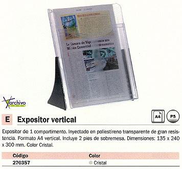 ARCHIVO 2000 EXPOSITOR CRISTAL/NEGRO 135X240X300MM 6101CSTP