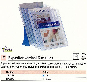 ARCHIVO 2000 EXPOSITOR VERTICAL 5 CASILLAS 265X240X380MM AZUL 6105AZTP