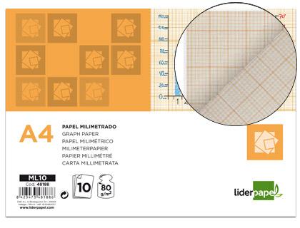 Din A4 ENVASE DE 12 UNIDADES PAPEL DIBUJO LIDERPAPEL 210X297 MM 80G/M2 MILIMETRADO PACK DE 10
