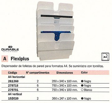 DURABLE EXPOSITOR FLEXIPLUS FOLLETOS A4 VERTICAL 2 COMPARTIMENTOS 1709008060