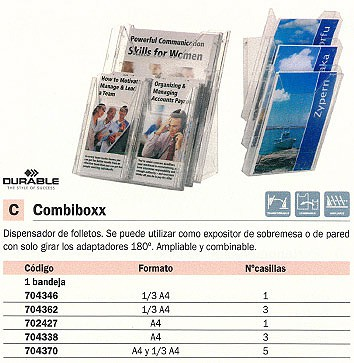 DURABLE EXPOSITOR COMBIBOXX FOLLETOS A4 3CASILLAS 8580