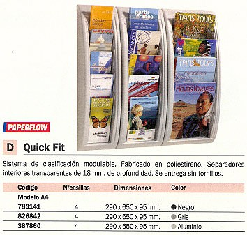 PAPERFLOW EXPOSITOR QUICK FIT 4 CASILLAS 290X650X95 4061.02