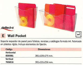 DEFLECTO EXPOSITOR WALL POCKER A4 VERTICAL 270X98X251 MM. CP078YT