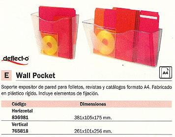 DEFLECTO EXPOSITOR WALL POCKER A4 VERTICAL 270X98X251 MM. CP078YT