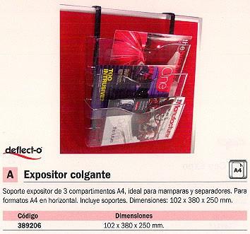 DEFLECTO EXPOSITOR COLGANTE A4 381X105X175 CP077YT