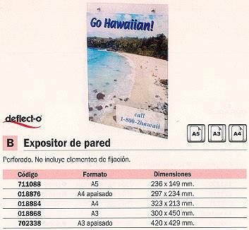 DEFLECTO EXPOSITOR DE PARED A5 149X235X3 47101