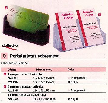 DEFLECTO PORTATARJETAS SOBREMESA 96X35X45 MM NEGRO 70101