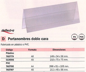 DEFLECTO PORTANOMBRES DOBLE CARA A5 HORIZONTAL 215X80X60 MM PVC 778701